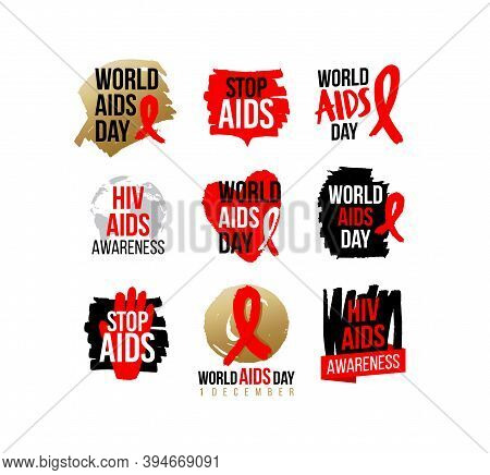 Aids And Hiv Awareness Red Ribbon. World Aids Day Campaigns Icon, Badges, Sticker, Label, Tag Design
