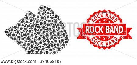 Vector Collage Rock Stone Of Flu Virus, And Rock Band Scratched Ribbon Stamp Seal. Virus Elements In