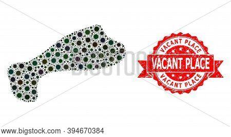 Vector Mosaic Spot Of Flu Virus, And Vacant Place Grunge Ribbon Seal Imitation. Virus Elements Insid