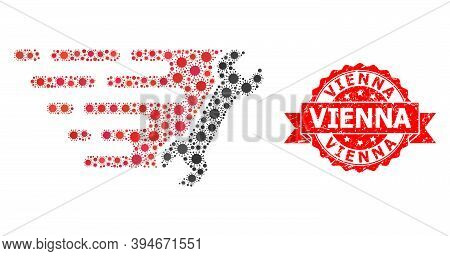 Vector Mosaic Wrench Of Covid-2019 Virus, And Vienna Textured Ribbon Stamp Seal. Virus Cells Inside