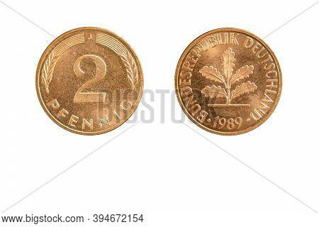 German Coin 2 Pfennig Year 1989 Deutsche Mark Currency,obverse And Reverse Side On White Background,