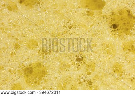 Macrophotography Of Yellow Sponge Texture Close Up View.