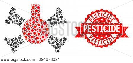 Vector Mosaic Poison Flask Of Covid-2019 Virus, And Pesticide Corroded Ribbon Stamp Seal. Virus Cell