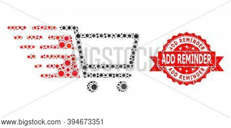 Vector Collage Shopping Cart Of Sars Virus, And Add Reminder Unclean Ribbon Seal Print. Virus Elemen