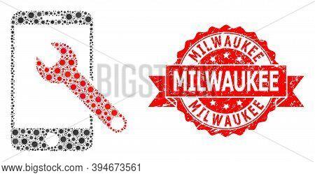 Vector Collage Smartphone Repair Of Sars Virus, And Milwaukee Textured Ribbon Seal Imitation. Virus