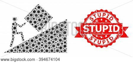 Vector Collage Pointless Task Of Flu Virus, And Stupid Rubber Ribbon Stamp Seal. Virus Particles Ins