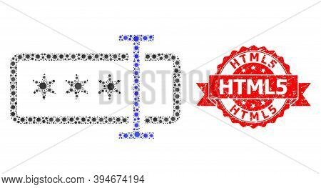 Vector Collage Password Field Of Flu Virus, And Html5 Grunge Ribbon Stamp Seal. Virus Items Inside P