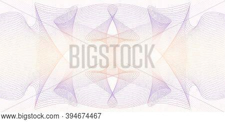 Light Orange, Purple Watermark Pattern. Line Art Elegant Guilloche, Symmetric Ornament. Squiggle Sub