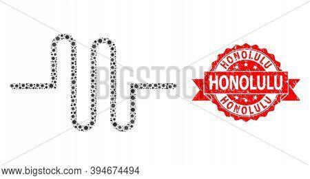 Vector Mosaic Pipeline Of Corona Virus, And Honolulu Dirty Ribbon Seal Imitation. Virus Items Inside