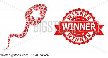 Vector Collage Sperm Winner Of Flu Virus, And Winner Unclean Ribbon Stamp Seal. Virus Elements Insid