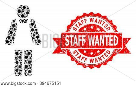 Vector Collage Worker Person Of Corona Virus, And Staff Wanted Scratched Ribbon Stamp. Virus Particl