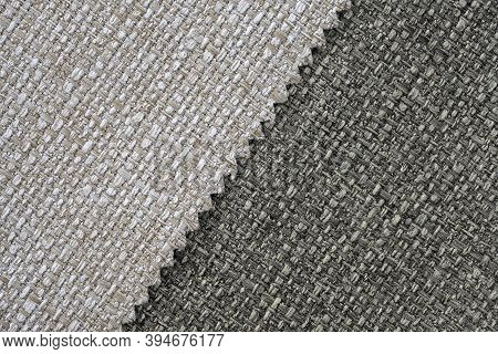 Fabric For Furniture Upholstery. Textile Industry Background. Upholstery Fabric In Gray Shades Top V