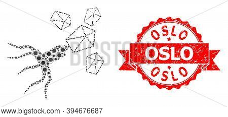 Vector Collage Virus Replication Of Corona Virus, And Oslo Grunge Ribbon Seal. Virus Elements Inside