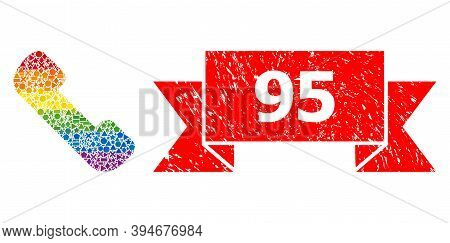 Bright Gradient Colorful Geometric Mosaic Phone Receiver, And 95 Grunge Stamp Seal. Red Stamp Seal C