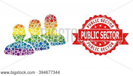 Rainbow Gradient Colored Geometric Mosaic Men Group, And Public Sector Scratched Seal. Red Stamp Sea
