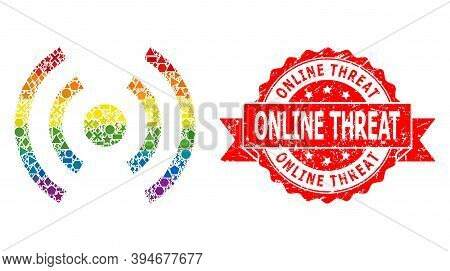 Rainbow Gradient Colored Geometric Collage Mobile Internet, And Online Threat Dirty Stamp. Red Stamp