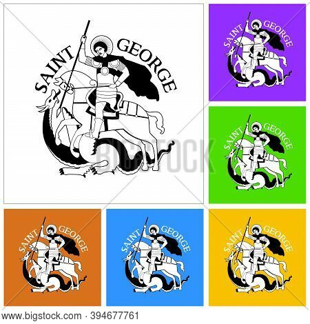Set Of Black And White Drawings Of Saint George On Horse Fighting The Dragon, In Stylized Way And Co