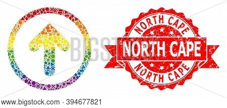 Rainbow Gradient Colored Geometric Collage Up Pointer, And North Cape Grunge Seal. Red Seal Contains