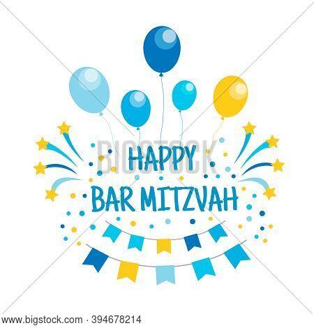 Happy Bar Mitzvah Invitation Or Congratulation Card. Vector Illustration