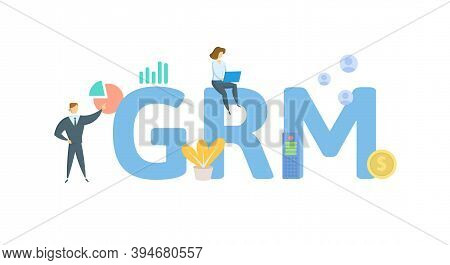 Grm, Gross Rent Multiplier. Concept With Keywords, People And Icons. Flat Vector Illustration. Isola