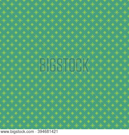 Christmas Green Stars Background Seamless Pattern. Bright Green Diamond Shapes Elements On Emerald G
