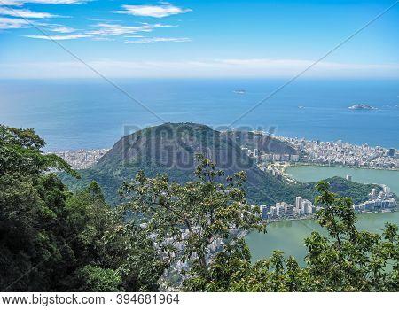 Rio De Janeiro, Brazil - December 24, 2008: Aerial View Of Green Green Forested Hill Of Bairro Peixi