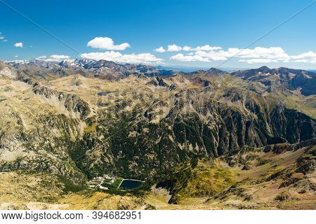 View Of The Baths Of Panticosa From The Way Up To Garmo Negro, With The Bacias Peak And Brazatos Mou