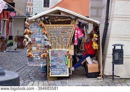Wroclaw, Poland - May 10, 2019: A Small Shop With Polish Souvenir In Outskirt Of Main City Center Ol