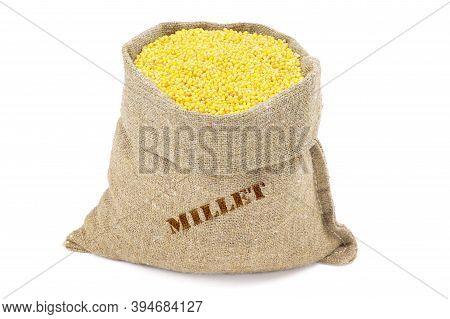 Millet In A Sack Isolated On A White Background. Millet In Burlap Sack. Millet In Jute Bag. Healthy