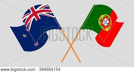 Crossed And Waving Flags Of New Zealand And Portugal. Vector Illustration