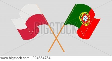 Crossed And Waving Flags Of Poland And Portugal. Vector Illustration