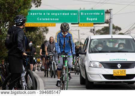 La Calera Colombia - October, 2020: View Of The Cyclists, People And Cars At The Well Known Alto De