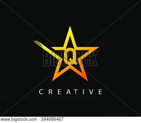 Star Q Letter Digital Network, Technology And Digital Abstract Line Q Network Space Logo.