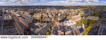 Lowell Historic Downtown, Canal, Marrimack River And Historic Mills Panorama Aerial View In Fall In