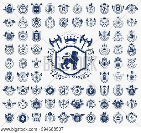 Vintage Heraldic Emblems Vector Big Set, Antique Heraldry Symbolic Badges And Awards Collection, Cla