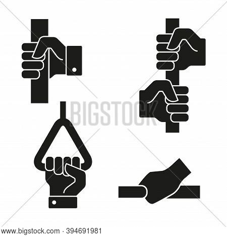 Hands Hold On To The Handrails Icon Set. In Public Transport. Flat Style Vector Illustration Isolate