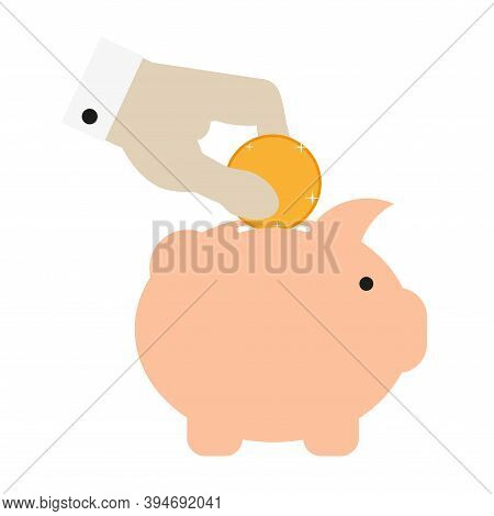 Businessman Hand Dipping Sparkling Gold Coin Into Pink Piggy Bank. Flat Style Vector Illustration Is