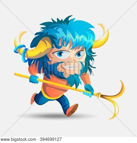 Zodiac Signs - Aries. Colored Vector Illustration. Aries Cartoon Character. Isolated On White Backgr