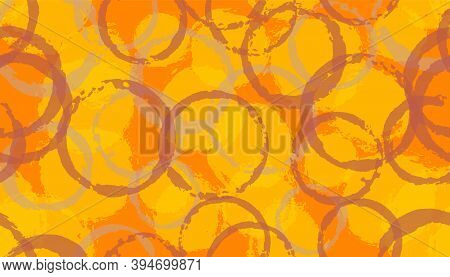 Grunge Painted Circles Geometry Fabric Print. Circular Stain Overlapping Elements Vector Seamless Pa