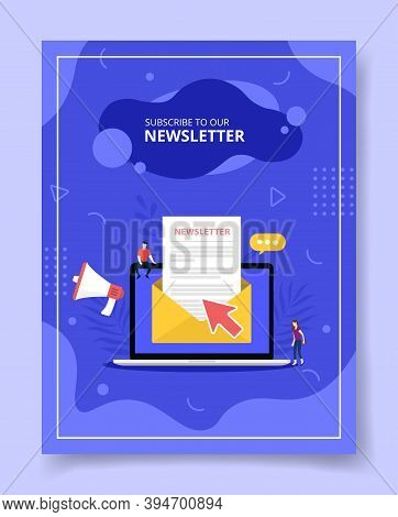 Newsletter Concept With Email And Laptop For Template Of Banners, Flyer, Books Cover, Magazines With