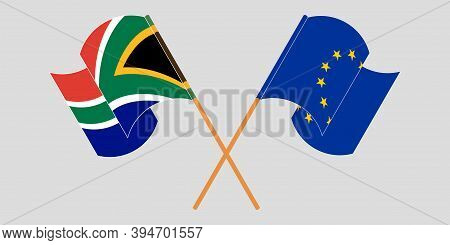 Crossed And Waving Flags Of South Africa And The Eu. Vector Illustration
