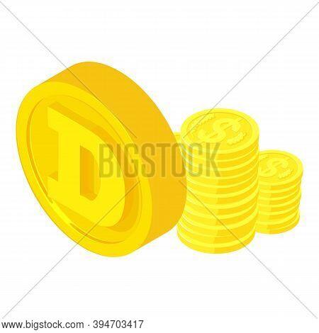 Dogecoin Cryptocurrency Icon. Isometric Illustration Of Dogecoin Cryptocurrency Vector Icon For Web