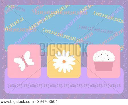 Design Template For Cute Invitation Card. Template For Scrapbooking With Hand Drawn Doodle Patterns.