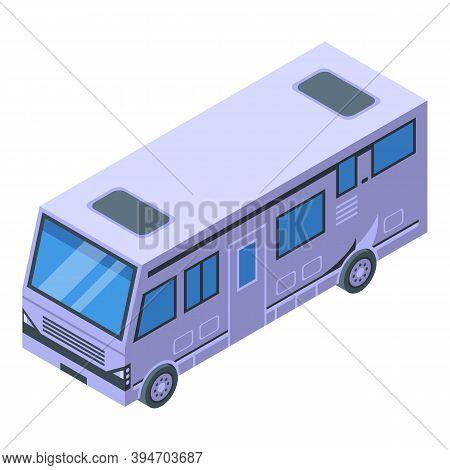Adventure Motorhome Icon. Isometric Of Adventure Motorhome Vector Icon For Web Design Isolated On Wh