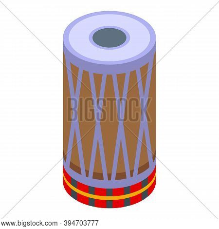 Indian Drums Icon. Isometric Of Indian Drums Vector Icon For Web Design Isolated On White Background