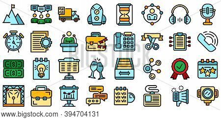 Event Management Icons Set. Outline Set Of Event Management Vector Icons Thin Line Color Flat On Whi