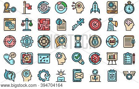 Problem Solving Icons Set. Outline Set Of Problem Solving Vector Icons Thin Line Color Flat On White