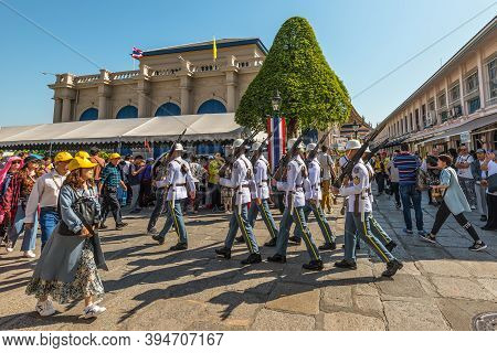 Bangkok, Thailand - December 7, 2019: Change Of Guards Parade At The Grand Palace, Bangkok By Ceremo