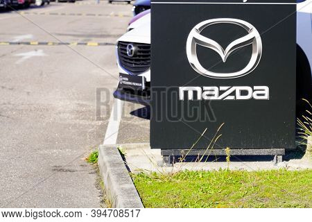 Bordeaux , Aquitaine / France - 11 11 2020 : Mazda Logo And Text Sign Of Dealership Shop Japanese Ca