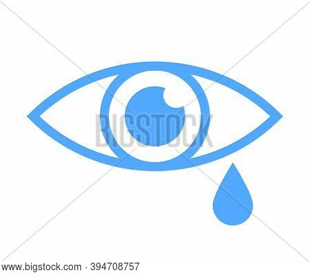 Tear Cry Eye Icon In Outline Style. Blue Eye With Tear Vector Symbol Isolated